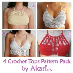 2 FREE Crochet bikini top patterns  2 lacy crop crochet tops PDF crochet pattern Pack _ PBS1 by AkariCrochetPatterns Find it now at http://ift.tt/1WaxOYT!