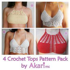 2 FREE Crochet bikini top patterns  2 lacy crop crochet tops PDF crochet pattern Pack _ PBS1 by AkariCrochetPatterns Find it now at http://ift.tt/1WaxOYT!