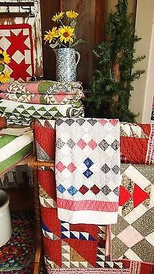 Authentic c1880 1910 Handmade Crib Quilt 4 Square Baby Table or Doll | Vintageblessings