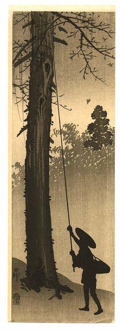 Ohara Koson: Hunting for Insects - 1900-1910. Zazen Meditation, Zen Painting, Japanese Painting, Ohara Koson, Japanese Prints, Japanese Design, Art Chinois, Mary Cassatt, Gauguin
