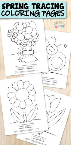 Free printable Spring tracing coloring page for kids are perfect for teachers, homeschooling parents or anyone who wants to keep kids entertained and learning at the same time. #tracingcoloringpages #coloringpagesforkids