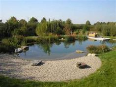 I like having a big beach next to the swimming pond. Natural Pools – Natural Pond – Natural Swimming Ponds by Rin Robyn . Pool Spa, Swimming Pool Pond, Natural Swimming Ponds, Natural Pond, Swimming Pool Designs, Pond Landscaping, Ponds Backyard, Backyard Beach, Design Fonte