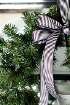 A Christmas Wreath with a Simple Bow is a classic touch