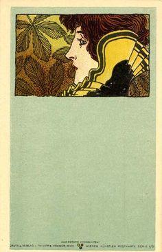 illustration autrichienne : Koloman Moser, carte postale, portrait de femme