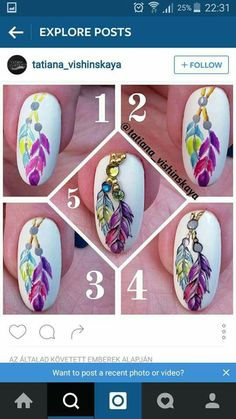 Feather Nail Art Tutorial Step by Step Diy Nails, Cute Nails, Pretty Nails, Perfect Nails, Gorgeous Nails, Winter Nails, Summer Nails, Nail Design Gold, Nail Art Designs