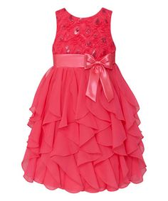 Love this Coral Ruffle Tier Dress - Infant, Toddler & Girls on #zulily! #zulilyfinds