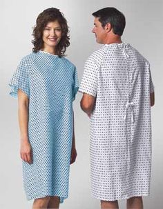 Patient Economy Exam Gown with Ties Hospital Gown Pattern, Medical Scrubs, Work Wear, Cold Shoulder Dress, Short Sleeve Dresses, Shirt Dress, My Style, How To Wear, Outfits