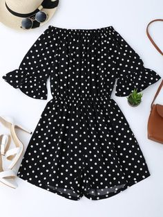 SHARE & Get it FREE | Off The Shoulder Polka Dot Romper - Black MFor Fashion Lovers only:80,000+ Items • New Arrivals Daily Join Zaful: Get YOUR $50 NOW!