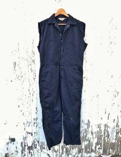 5b01aa9b74f1 Vintage Coveralls Mechanic Jumpsuit Workwear Distressed Sz M L