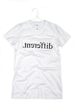 Women's Tshirt Different Lettering White Black by AptakisicTee, $20.00