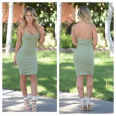 Olive dress Olive dress, good quality material, has a stretch to it, sexy club wear, party wear, put a jacket on top for a warm cute outfit Fashion nova Dresses