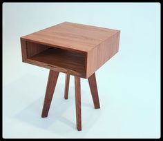 Custom Made Midcentury Inspired Walnut Sidetable- The Sputnik
