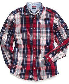 Tommy Hilfiger Kids Shirt, Little Boys Tommy Plaid Shirt