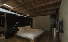 Fresh Casa Del Bosque Classic Private Residence by Taller|A arquitectos: Simple Bedroom In Casa Del Bosque With Wide Bed, Wooden Floor, Wood...