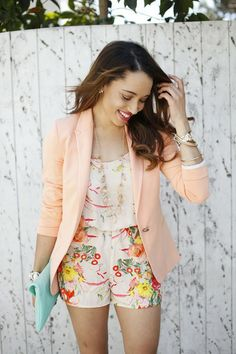 Add a pastel blazer with a floral romper for a look that is instantly more dressy.