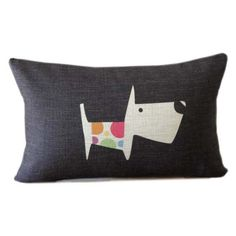 SUMMER SALE - Black lumbar pillow with dog design 12x18 black linen pillow cover black decorative animal throw pillow on Etsy, $21.99