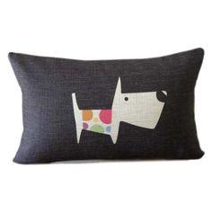 SUMMER SALE - Black lumbar pillow with dog design 12x18 black linen pillow cover black decorative animal throw pillow auf Etsy, 17,30€