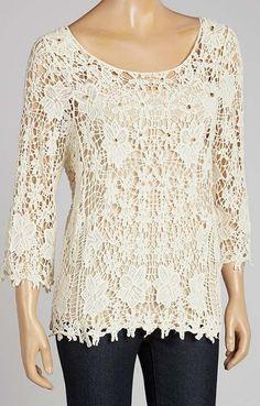 Cream Crocheted Top