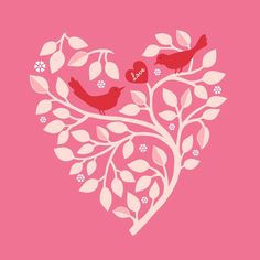 Items similar to Heart Branch in Pink Art Print on Etsy My Sweet Valentine, Love Valentines, Heart Day, Love Heart, Bird Art, Cute Wallpapers, Red And Pink, Images, Art Prints