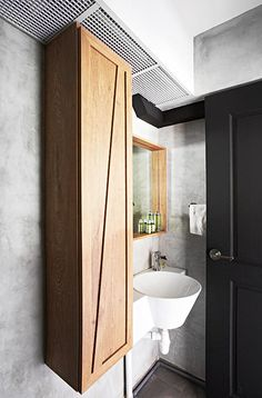 Bathroom in white and black expose piping hdb home decor - Bathroom cabinets singapore ...