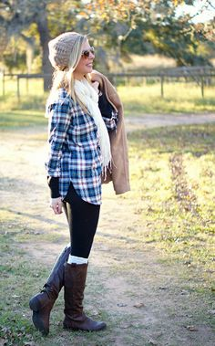 Cozy plaid + riding boots + crocheted beanie