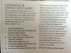 Asparagus and greens farro
