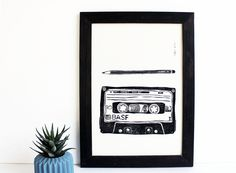 Linoldruck - Linoldruck Kassette und Bleibstift | A4 - ein Designerstück von halfbird bei DaWanda