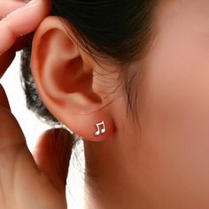 Fashion Lovely Music Note Stud Earrings With Silver Plated Pendientes Ear Charm Earring Women Jewelry I Love Jewelry, Charm Jewelry, Stone Jewelry, Boho Jewelry, Silver Jewelry, Delicate Jewelry, Jewelry Ideas, Fashion Jewelry, Girls Earrings