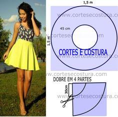 O molde de saia amarela curta encontra-se no tamanho único. A ilustração do molde de saia não tem valor de costura tem que ser acrescentado.