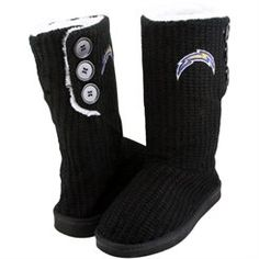 San Diego Chargers Ladies Knit High End Button Boot Slippers - Black
