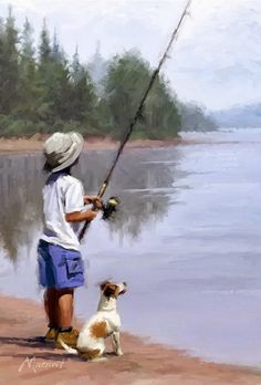 """'Boy Fishing' by Richard Macneil Painting People, Artist Painting, Painting & Drawing, Watercolor Paintings, Watercolour, Boy Fishing, Fish Art, Beautiful Paintings, Art Sketches"