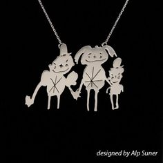 Handmade silver personalized necklaces and gifts from your child's art, perfect gift idea, gift for her, personalized gift