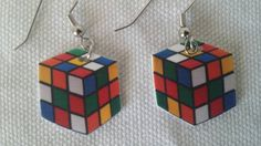 Rubik's cube earrings 2 resin epoxy polymer clay by zharenee