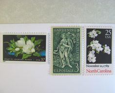 Vintage Postage Stamps Unused, North Carolina,  Southern Flowers, Mail 20 Invitations up to 2 oz. $32.00, via Etsy.