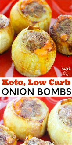 If you are on a Keto or low carb diet, then you may have heard of Keto Onion Bom. - If you are on a Keto or low carb diet, then you may have heard of Keto Onion Bombs. The meat turns out perfectly cooked and cheesy, while the onions a. Ketogenic Recipes, Low Carb Recipes, Diet Recipes, Dessert Recipes, Ketogenic Diet, Breakfast Recipes, Paleo Diet, Diet Breakfast, Ketosis Diet