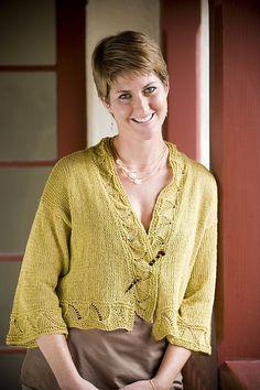 Ravelry: Santorini Linen Kimono Jacket pattern by Lisa Limber 4 Skeins Euroflax