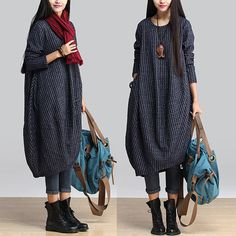 Irregular thickening cotton dress blue robe / irregular round neck wild temperament jacquard dress