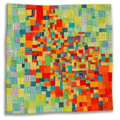 Diane Melms    Fresh Salsa Hand-dyed cotton fabrics, surface design mono-printed with textile paint, composition machine pieced, layered with batting and machine quilted by artist.