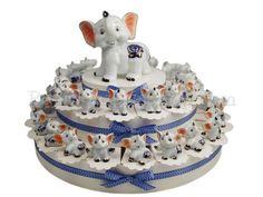 Torta Bomboniera con 38 elefantini birichini #torta #bomboniera #elefantino #battesimo