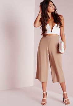 Missguided - Crepe Culottes Camel