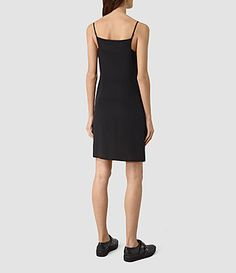 Women's Rywen Short Silk Dress (Black) - product_image_alt_text_4