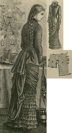 Tygodnik Mód 1880.: Misses' festive dress from dark blue atlas. The short skirt is adorned with 2 rows of 12 cm wide pleats, above 3 rows of shirred fabric, with 6 cm wide ruffle and puffs. The tunique is plaited up at the right side to 50 cm, on the left side to 30 cm, here fastened with fabric knots. The back drapery is arranged from one big panel according to signs and the back view. The upper side is gathered to fit to waist, the bottom edges are stitched up to form a loop. Basque bodice…