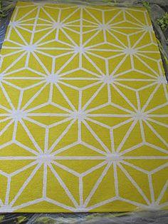 cute rug DIY using IKEA white, paint, and fabric medium
