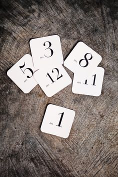 Square Number Place Cards