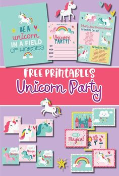 Free Unicorn Party printables with a be a unicorn in a field of horses print, invitations, what's your unicorn name game. Several of the decorations are easy to use anywhere! - ConfettiCrate.com