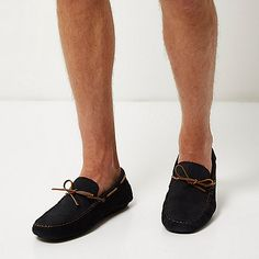 Navy suede woven driver shoes - boat shoes - shoes / boots - men