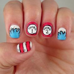 Dr Seuss Cat In The Hat Nail Art - Thing 1 and Thing 2