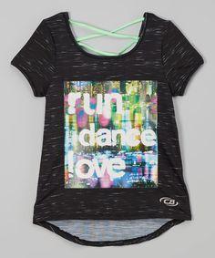 Loving this Black & Green 'Run Dance Love- Strappy-Back Tee - Girls on #zulily! #zulilyfinds