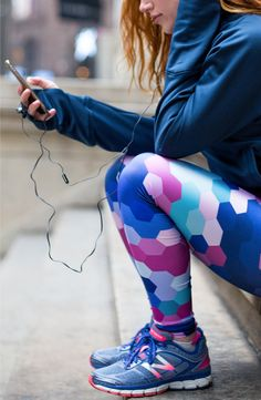 EvannClingan.com - Pins to Kill Geometric Leggings, Blue and Pink @newbalance Shoes