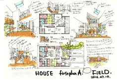 Conceptual Sketches, Conceptual Design, Japan Architecture, Architecture Design, Farnsworth House, Plan Sketch, Interior Sketch, Co Working, Minimalist Home
